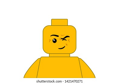 illustration yellow lego minifigures character winks. yellow lego minifigures isolated on a white background.
