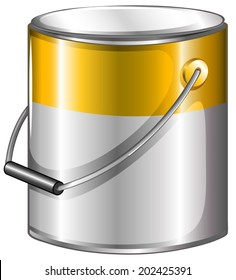 Illustration of a yellow paint on a white background
