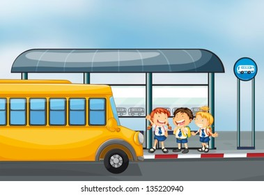 Illustration of a yellow school bus and the three kids