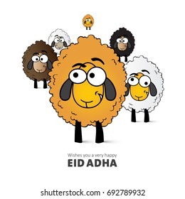 Illustration of yellow sheep as a comic vector for Eid Adha