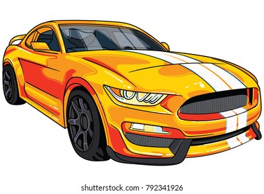 Illustration of yellow  sport car Mustang with two white strips on car hood . All illustrations are easy to use and highly customizable, logical layered to fit your needs.