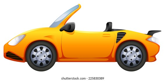 Illustration of a yellow sports car on a white background