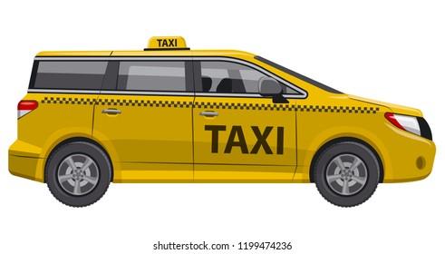 illustration of yellow taxi car auto minivan