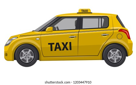 illustration of yellow taxi car hatchback