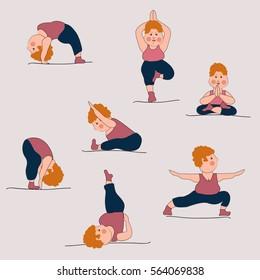 Illustration Yoga Exercises Yoga Beginners Stock Vector Royalty Free 564069838