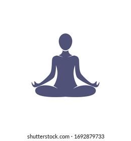 Illustration Yoga Icon Black and White Vector