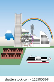 Illustration of Yokohama city. The bay city is one of the most famous tourist attractions in Japan.