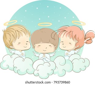 Illustration of Young Angels In White Praying among the Clouds in the Sky