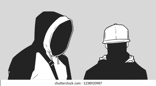 Illustration of young black London gang member