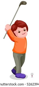 illustration of young boy playing golf on white background