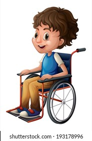 Illustration of a young boy riding on a wheelchair on a white background