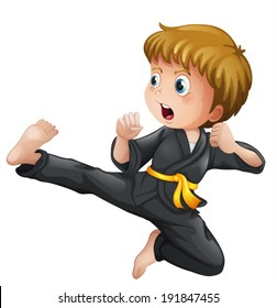Illustration of a young boy showing his karate moves on a white background