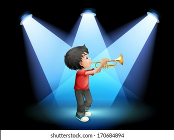 Illustration of a young boy with a trumpet at the stage