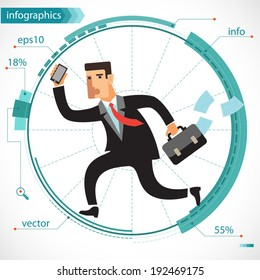Illustration of a young businessman active as a squirrel running on an exercise wheel. Infographics for presentations and reports. Flat design.