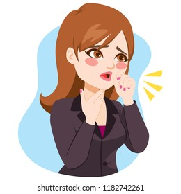 Illustration of young businesswoman coughing with fist in front of mouth and hand on neck