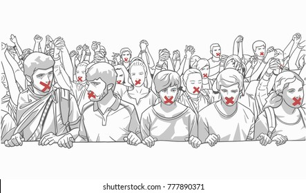 Illustration of young crowd demonstrating with red tape on their mouth and holding hands in red and grey