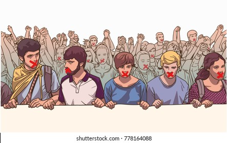 Illustration of young crowd demonstrating with red tape on their mouth and holding hands in color