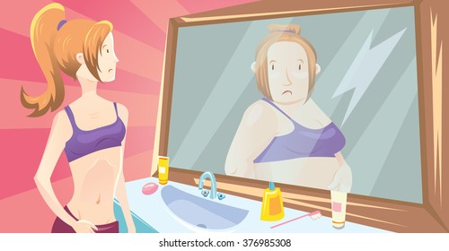Illustration of young cute sporty girl looking in the mirror and imagining herself as a fat women. About anorexia nervous disease.