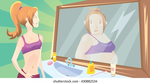 Illustration of young cute sporty girl on green gradient background looking in the mirror and imagining herself as a fat women. About anorexia nervous disease.