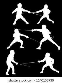 illustration with young fencers silhouettes isolated on black background