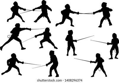 illustration with young fencers silhouettes isolated on white background