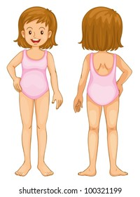 Illustration of young girl anatomy