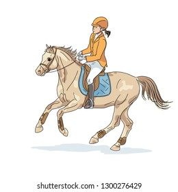 An illustration of a young girl cantering on a big pony.
