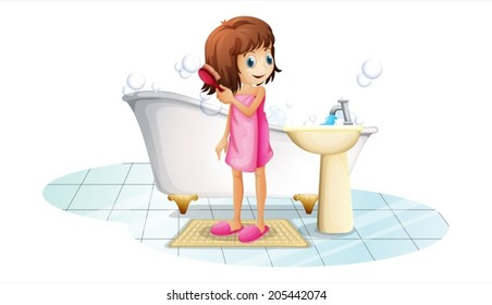 Illustration of a young girl combing her hair after taking a bath on a white background