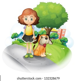 Illustration of a young girl with a dog along the street on a white background