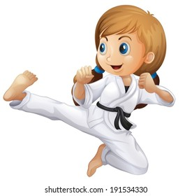 Illustration of a young girl doing karate on a white background