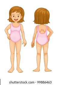 Illustration of young girl front and back