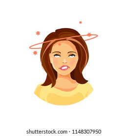 Illustration of a young girl with headache and dizziness