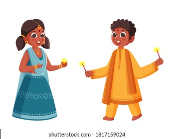 Illustration of Young Girl Holding a Oil Lamp (Diya) with Boy Enjoy Firecracker on White Background.
