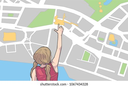 Illustration of young girl looking and pointing at destination on large map