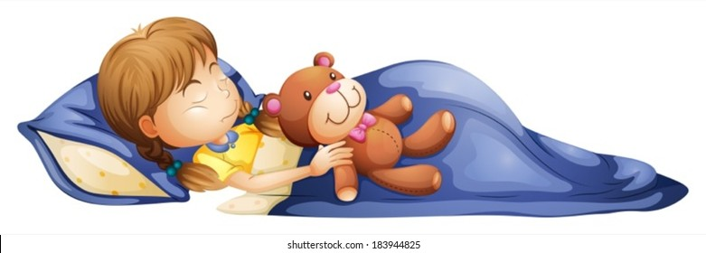 Illustration of a young girl sleeping with a toy on a white background