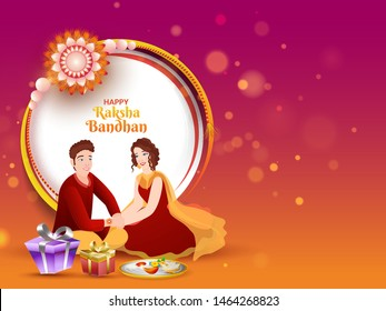 Illustration of a young girl tying Rakhi on her brother wrist with gift boxes for Happy Raksha Bandhan celebration concept. Can be used as banner or poster design.