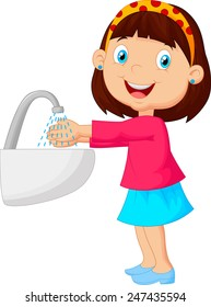 Illustration of a young girl washing her hands