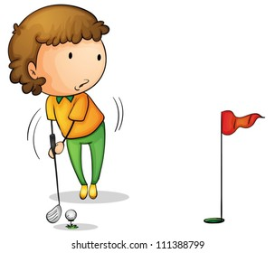 Illustration of a young golfer