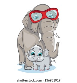 Illustration of a young gray elephant with mother in pink glasses on a white background