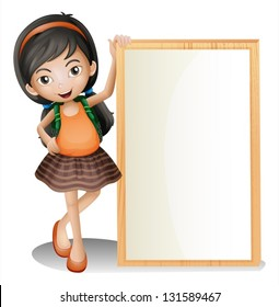 Illustration of a young lady beside an empty signboard on a white background