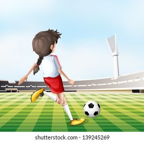 Illustration of a young lady playing football