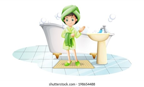 Illustration of a young lady taking a bath with a green towel on a white background