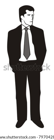 Illustration of a young man in black suit