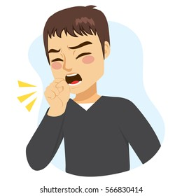 Illustration of young man coughing with fist in front of mouth