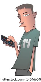 Illustration of a young man playing a game on his smart phone.