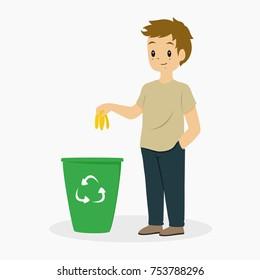 illustration of a young man putting away banana peel to a trash bin. cartoon vector