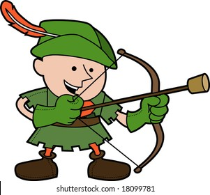 Illustration of young man in robinhood costume with bow and arrow