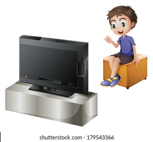 Illustration of a young man watching TV on a white background