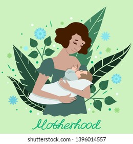 Illustration of a young mother breastfeeding her baby. A postcard with the words motherhood. Vector illustration. For medical posters, design postcards, banners and more.