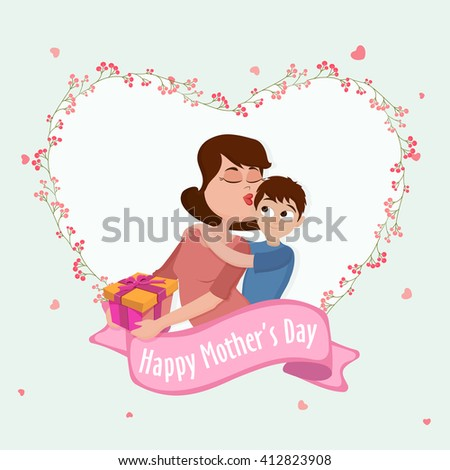 Illustration Young Mother Kissing Her Son Stock Vector (Royalty Free ...